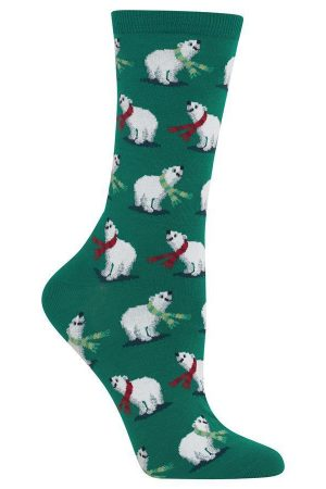 Festive Polar Bears Hot Sox Trouser Crew Socks