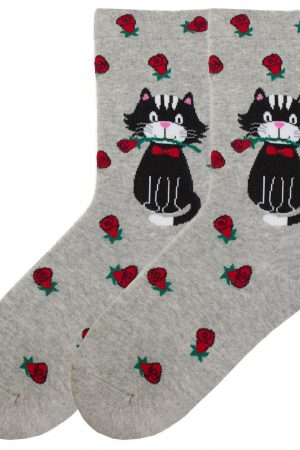 Cat Roses K Bell Crew Socks Relax Top