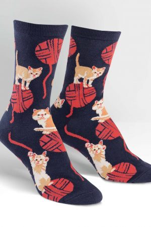 Kitten Knitting Dress Crew Socks