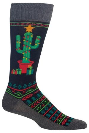 Christmas Cactus Hot Sox Dress Crew Socks