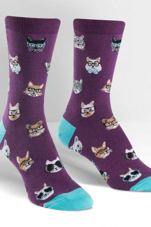 Smarty Cats Trouser Crew Socks Purple