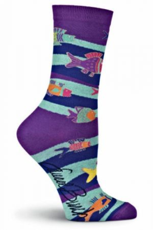 Swimming Fish K Bell Crew Socks