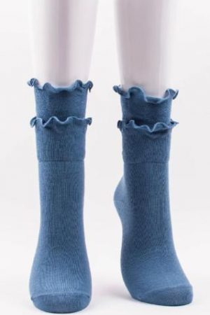 Double Ruffles Trouser Crew Socks Storm Blue