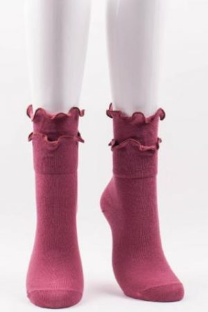 Double Ruffles Trouser Crew Socks Rose