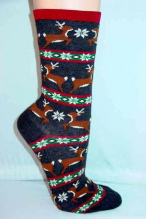 Reindeer Fair Isle Hot Sox Crew Socks Charcoal Grey