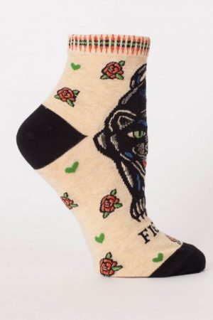 Fierce Jungle Cat Blue-Q Ankle Socks