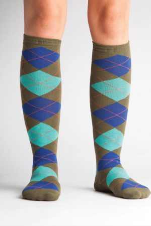 Argyle Knee High Socks Green & Turquoise