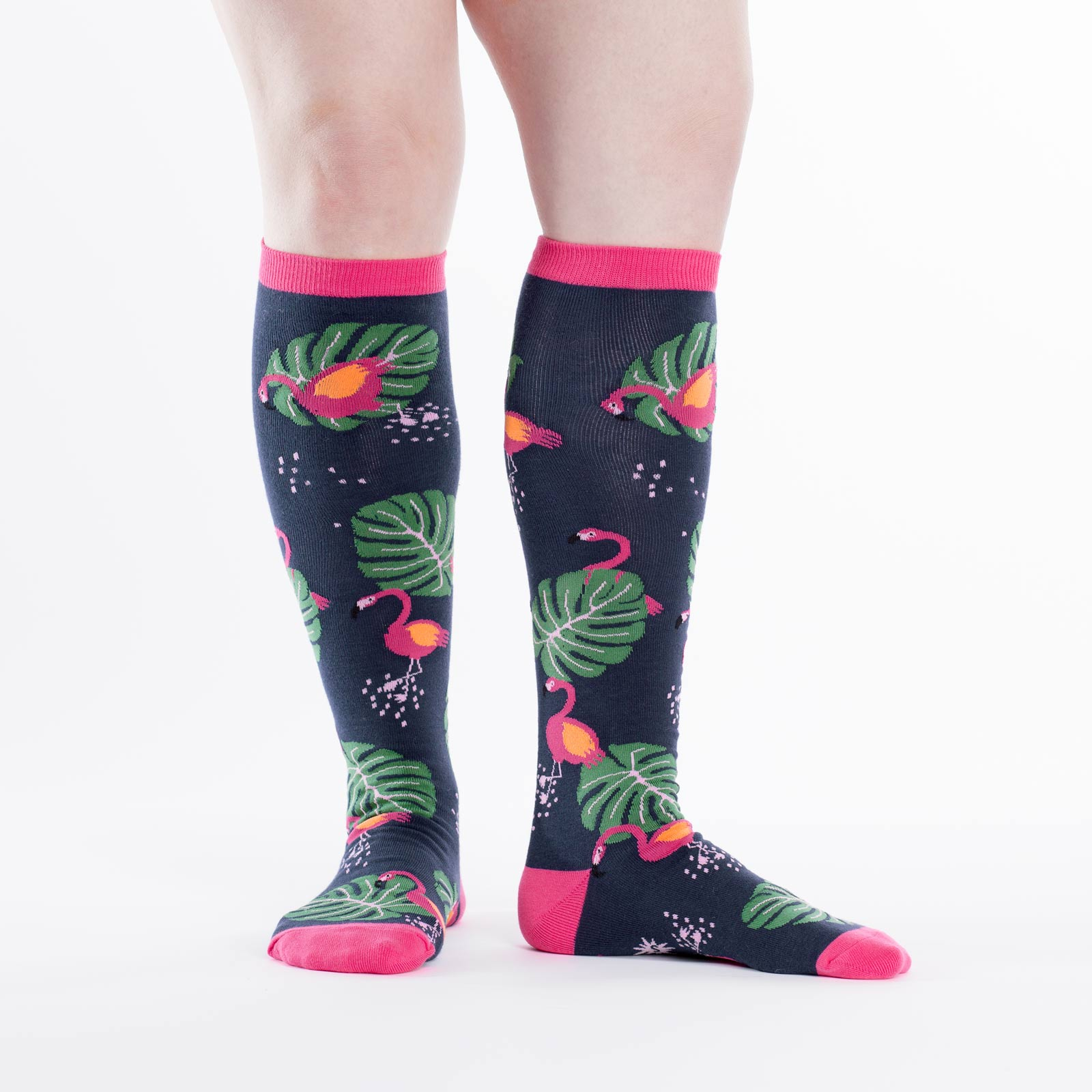 cec0a8bff8a Flamingo Knee High Socks New Women s Size 9-11 Bright Colorful Birds ...