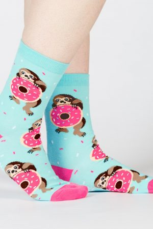 Snackin' Sloth Trouser Crew Socks Light Blue