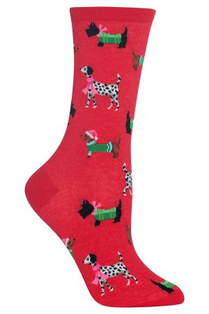 Sweater Dogs Hot Sox Trouser Crew Socks Red