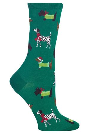 Sweater Dogs Hot Sox Trouser Crew Socks Green