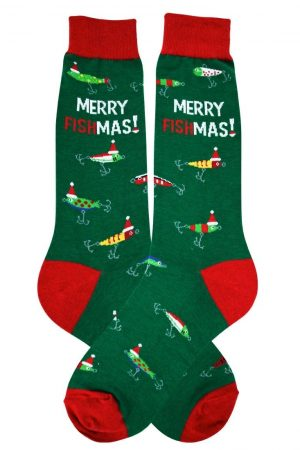 Merry Fishmas Foot Traffic Dress Crew Socks