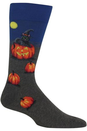 Pumpkin Cat Witch Hat Hot Sox Dress Crew Socks