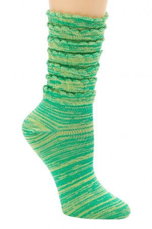 Space Dye Stripe Multiple Ruffle K Bell Trouser Crew Sock Green
