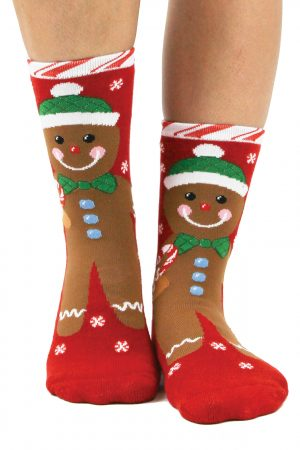 Gingerbread Men Foot Traffic Slipper Socks
