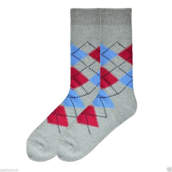 Happy Argyle K Bell Dress Crew Socks Charcoal