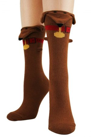 Dachshunds 3-D Trouser Crew Socks Brown