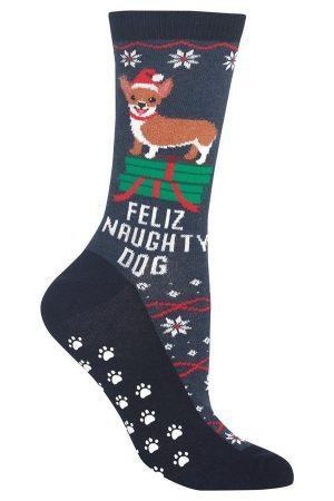 Feliz Naughty Dog Hot Sox Non-Skid Crew Socks Denim
