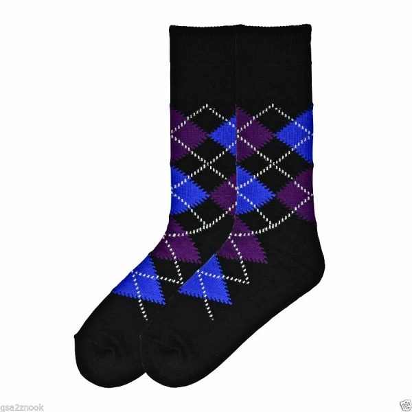 Happy Argyle K Bell Dress Crew Socks Black Top