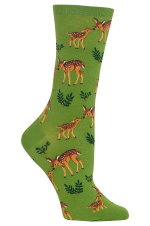 Doe Deer & Fawn Hot Sox Trouser Crew Socks Green