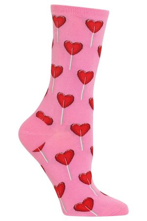 Heart Lollipop Hot Sox Trouser Crew Socks Pink