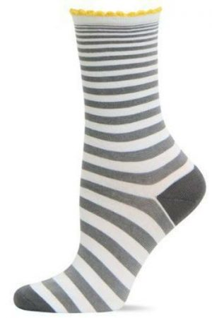 Expand Stripe Scallop Cuff Hot Sox Crew Socks Grey New Women Size 9-11 Fashion