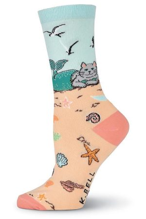 Mermaid Cat K Bell Crew Socks Sand