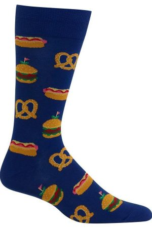 Street Food Hot Sox Dress Crew Socks Blue