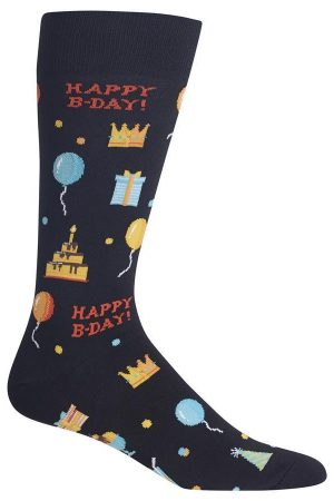 Happy Birthday Hot Sox Dress Crew Socks Black