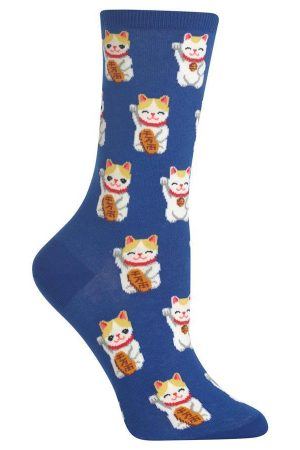 Lucky Cat Hot Sox Trouser Crew Socks Blue