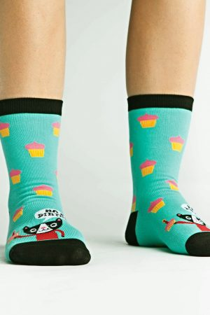 Happy Birthday Cat Trouser Crew Socks