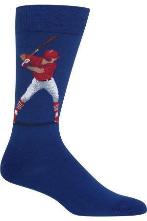 Baseball Batter Hot Sox Dress Crew Socks Blue