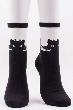 Black Cat Face Tabbi Sheer Trouser Crew Socks