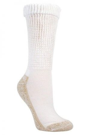 Health Non-Binding Crew Socks White