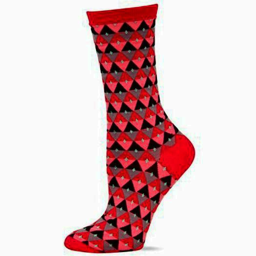 Diamond Stripe Hot Sox Trouser Crew Socks Red