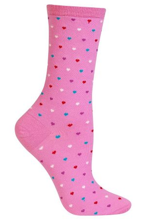 Pin Dot Hearts Hot Sox Trouser Crew Sock Daiquiri