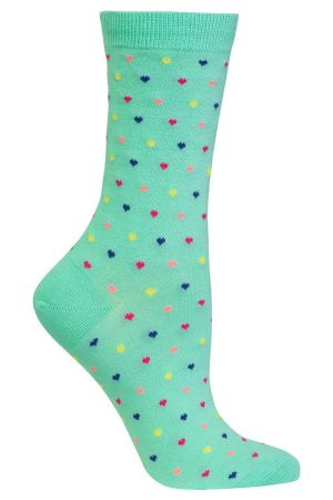 Pin Dot Hearts Hot Sox Trouser Crew Socks Jade
