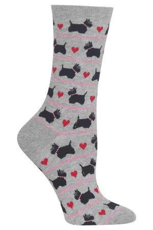 Scottie Dogs With Hearts Hot Sox Trouser Crew Socks
