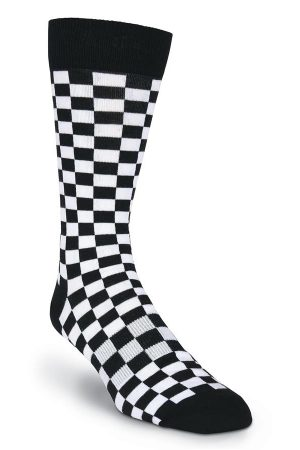 Checkerboard K Bell Dress Crew Socks Black/White
