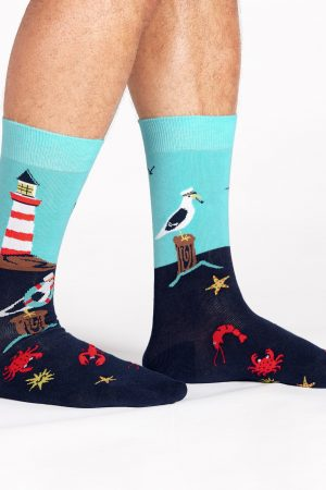 Seas the Day Dress Crew Socks New Men Size 10-13 Lighthouse Fashion