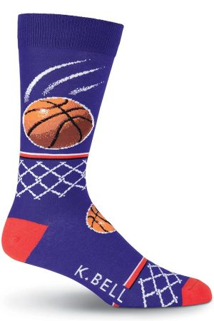 Basketball K Bell Dress Crew Socks Blue