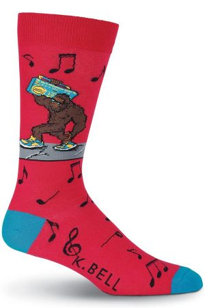 Bigfoot Boombox K Bell Dress Crew Socks Red