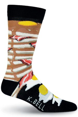 Breakfast K Bell Dress Crew Socks Black