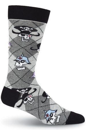 Clocked Skulls K Bell Dress Crew Socks