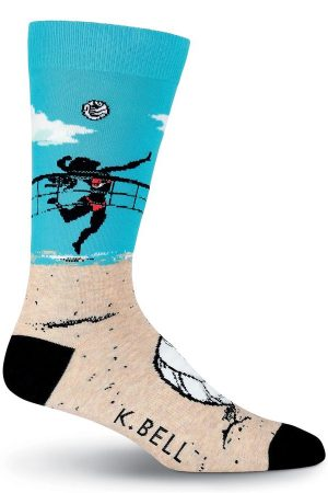 Volleyball K Bell Dress Crew Socks Blue