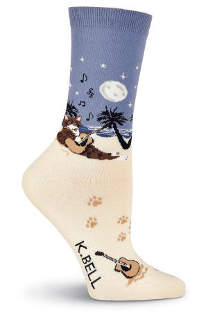 Beach Cat K Bell Crew Socks Sand