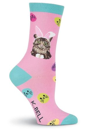 Easter Cat K Bell Crew Socks Pink