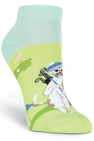 Golfing Cats K Bell Sport Ankle Socks Green