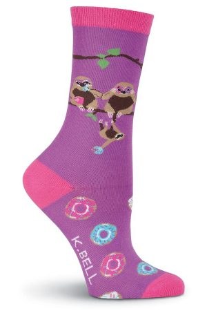 Sloths & Donuts K Bell Crew Socks Purple