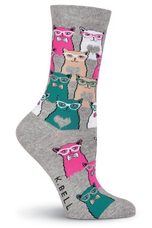 Smarty Cats K Bell Trouser Crew Socks Gray